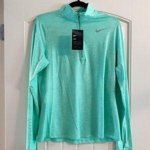 Nike Dri Fit 1/2 Zip Running Top Heathered Mint L